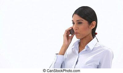 femme, chic, appeler