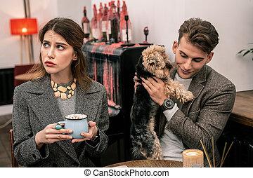 femme, chien, cacao, quoique, boire, jouer, homme