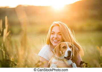 femme, chien