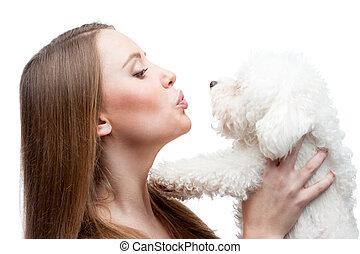 femme, chien, tenue
