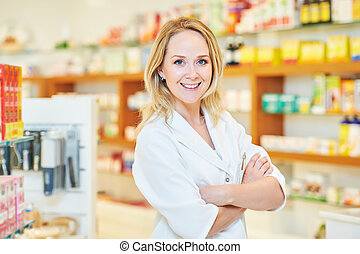 femme, chimiste, pharmacutical, portrait