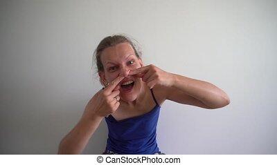 femme, chiquenaude, grattement, femme, doigt, laid, nose.,...