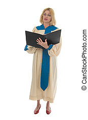 Femme Choir Member 1 - Blond woman in a choir robe holding a...