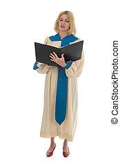 Femme Choir Member 1 - Blond woman in a choir robe holding a...