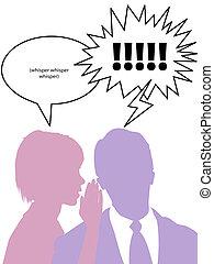 femme, chuchotements, dire, commérage, homme, secrets, silhouette