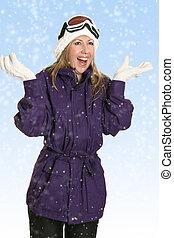 femme, chute neige, joyeux