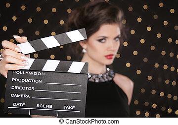 femme, cinéma, contre, main, mode, applaudissement, tenue, sexy, rouges