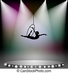 femme, cirque, voltigeur