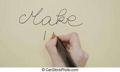 femme, citation, faire, mains, manucure, il, écriture,...