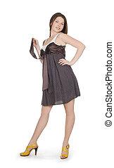 femme, clair, image, agréable, robe