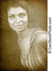 femme, classique, vendange, une, retro, portrait