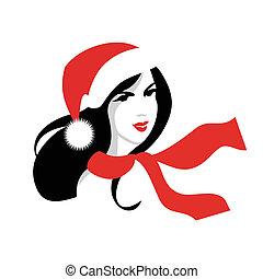 femme, claus, chapeau, santa