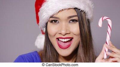 femme, claus, jeune, santa, sexy, chapeau