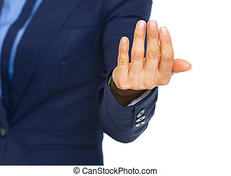 femme closeup, appeler geste, business, main
