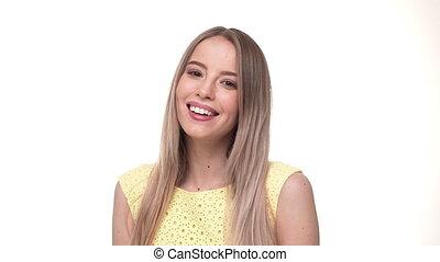 femme closeup, happy., business, jeune regarder, appareil photo, portrait., professionnel, sourire