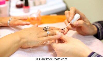femme, clous, anneaux, doigts, couleurs, décoré,...