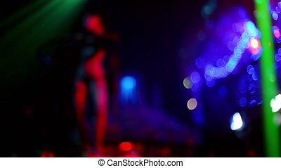 femme, club, nue, presque, danse, nuit