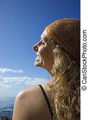 femme, coast., heureux