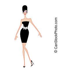 femme, cocktail, jeune, court, noir, chic, robe