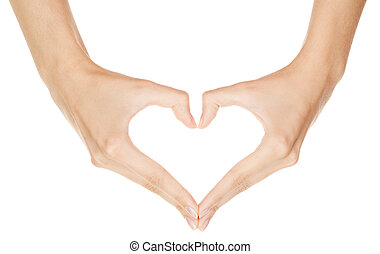 femme, coeur, signe, confection, fond, isolé, main, blanc