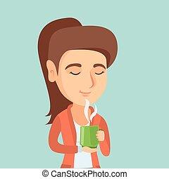 femme, coffee., tasse, jeune, apprécier, caucasien