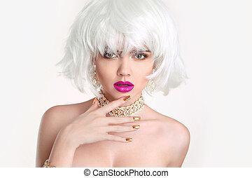 femme, coiffure, blonds, bob, makeup.