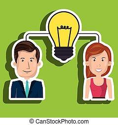 femme, collaboration, homme idée