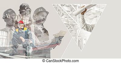 femme, collage, créatif, casques, mâle, constructeurs