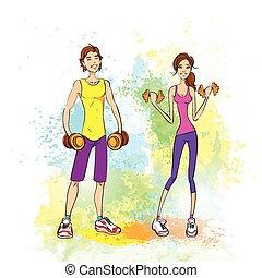 femme, coloré, entraîneur, athlétique, couple, sport, peinture, culturiste, éclaboussure, dumbbells, fitness, prise, muscle, sur, homme