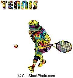 femme, coloré, joueur, affiche, tennis, silhouette
