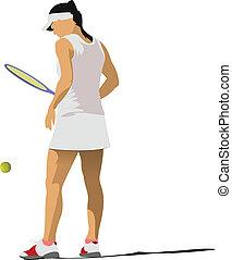 femme, coloré, poster., tennis, vecto