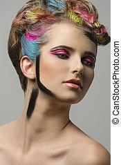 femme, coloré, pousse, beauté