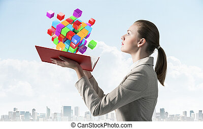 femme, coloré, voler, cubes, regarde, 3d