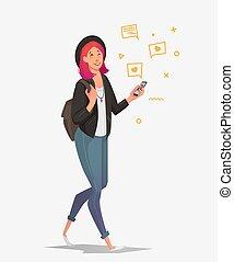 femme, communique, jeune, téléphone, étudiant, social, networks.