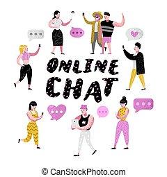 femme, communiquer, mobile, gens, chatting., illustration, dessin animé, applications, vecteur, ligne, social, utilisation, smartphones., réseaux, homme
