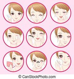 femme, concept, facial, peau