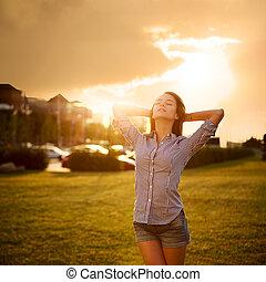 femme, concept., rêveur, relaxation, life., apprécier
