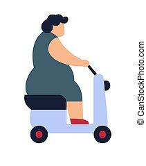 femme, conduite, scooter, excès poids, graisse, équitation, dame