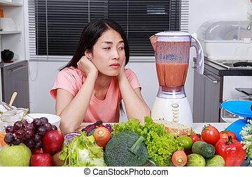 femme, confection, smoothies, à, mixer, dans, cuisine
