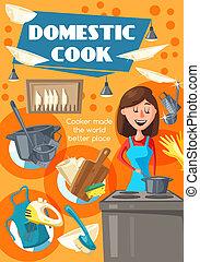 femme, conjugal, cuisinier, cuisine