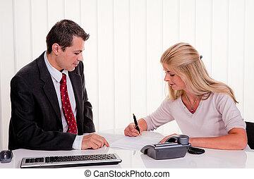 femme, contrat, signes
