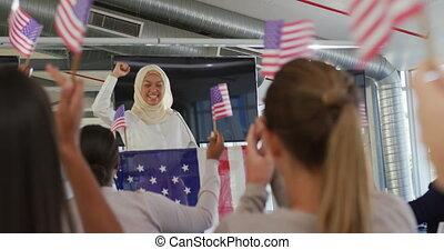 femme, convention, victorieux, politique, orateur, audience