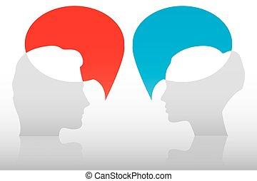 femme, conversation, concept, homme, entre