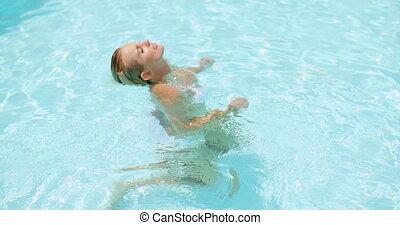 femme, cou, elle, tenue, séduisant, piscine