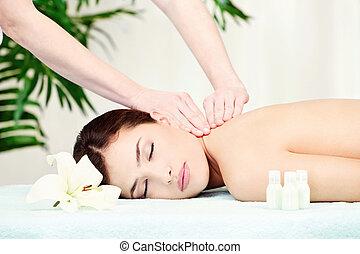 femme, cou, masage