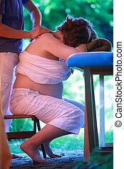 femme, cou, masage, pregnant