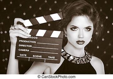 femme, coulage, clap., cinéma, retro, tenue, étoile, modèle...