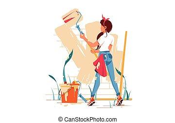 femme, couleur, beige, mur peinture, rouleau