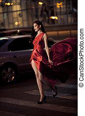 femme, coup, beauté, battement des gouvernes, -, mouvement, sexy, robe, rouges