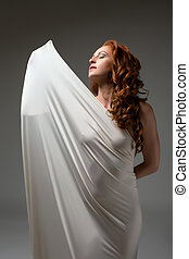 femme, coup, tissu, serré, poser, emballé, sexy
